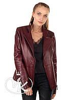 Бордовая кожаная куртка на молнии, фото 1