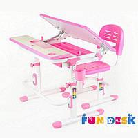 Комплект растущей мебели - Парта 80х60 см и стул-трансформеры для девочки 4 - 13 лет ТМ FunDesk Розовый Lavoro Pink