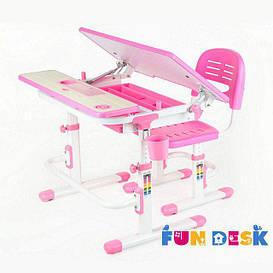 Комплект растущей мебели - Парта 80х60 см и стул-трансформеры для девочки 4 - 13 лет ТМ FunDesk Lavoro Pink
