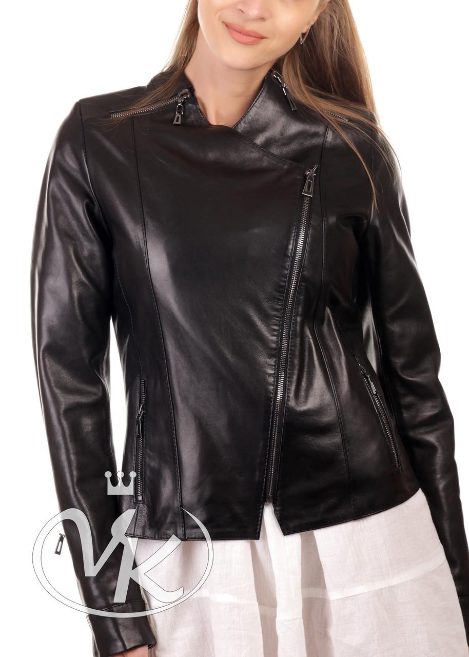 Кожаная куртка косуха женская черная (Арт. VK284)
