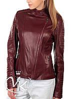 Бордовая кожаная куртка косуха
