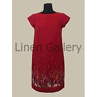 """Платье льняное с вышивкой на подоле """"Флоріда"""" красного цвета"""
