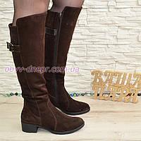 Сапоги коричневые женские зимние замшевые на невысоком устойчивом каблуке