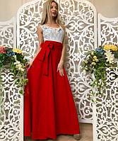 Женское платье в пол с гипюром летнее