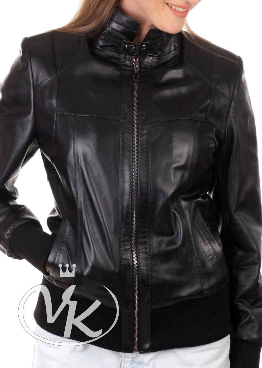 Кожаная куртка бомбер женская короткая (Арт. TRE2-201)