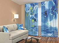 """ФотоШторы """"Орхидеи над водой"""" 2,5м*2,6м (2 полотна по 1,30м), тесьма"""