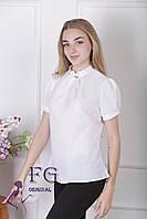 """Женская блузка """"Агата"""" - распродажа модели белый (молоко), 46"""