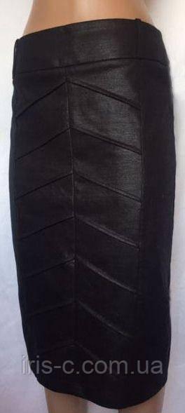 """Женская юбка - карандаш, черная, Designers at Debenhams, с эффектом """"под кожу"""", деловой стиль, размер S/M"""