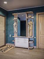 Готовый шкаф для маленьких прихожих Прима 1350*2500*380 дуб сонома/белый