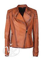 Рыжая кожаная куртка косуха