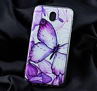 Чехол для Samsung Galaxy J7 2017 (J730) фиолетовая бабочка