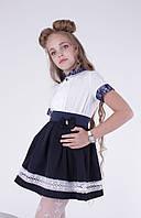 Синяя школьная юбка с бантиком для девочек