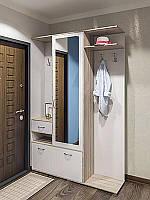 Шкаф с вешалкой для прихожей Грета 1400*2025*370 дуб сонома/белый