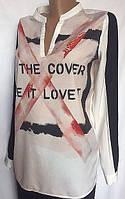 Женская блуза из поплина, черно-белая, Vila Clothes, размер S/M, фото 1