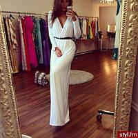 Женское платье в пол с длинным рукавом