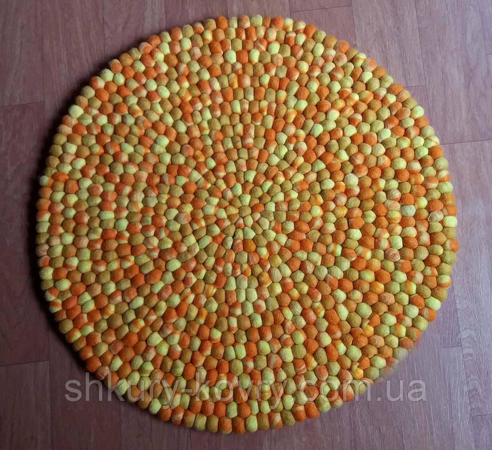 Оранжево бежевый натуральный необычный ковер из шерсти мериноса