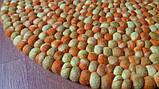 Оранжево бежевый натуральный необычный ковер из шерсти мериноса, фото 3