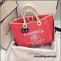 Женская сумка Шанель пляжная, текстиль, холст коралл Люкс копия