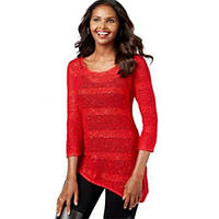 Женская асимметрическая кофта красная в полоску (L) INC International Concepts