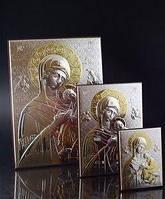 Икона Богородица серебро 925° сусальное золото