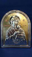 Икона серебро 925° сусальное золото Божья Матерь