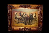 Картина в золотом багете горизонтальная Лошади