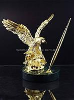 Настольная принадлежность натуральный камень золото Орел
