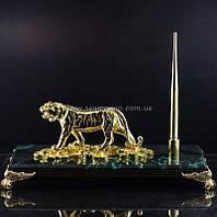 Настольная принадлежность натуральный камень золото Тигр на монетах