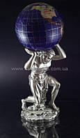 Статуэтка Атлант с земным шаром серебро натуральные камни