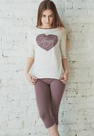 """Домашний комлект женский """"Я Ангел"""" длинная футболка и лосины в горошек пижама из хлопка Украина"""
