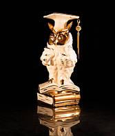 Статуэтка фарфоровая Мудрая сова с кристаллами белая с золотом