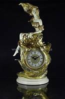 Часы керамика с золотом Девушка с лилиями