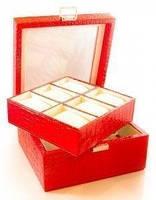 Шкатулка под часы и браслеты (на 6 пар) красная