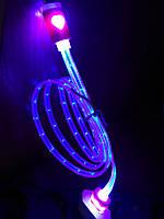 Кабель штекер USB на штекер micro USB светящийся,длина 1м,цвет прозрачно-розовый