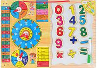 Игровой набор: Деревянная игрушка - Часы, календарь, времена года, дни недели, погода + магнитные цифры.