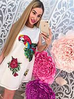 Красивое летнее белое платье с пайетками тренд сезона 2017 года