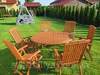 Комплект садових меблів. Стіл 140см (з отвором під зонт) + 6 крісел, фото 1
