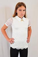 Детская школьная гипюровая блузочка на девочку-подростка, р.140-164