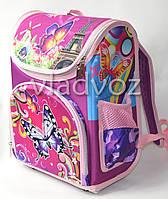 Школьный каркасный рюкзак для девочек бабочки фиолетовый