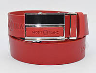 Кожаный ремень автомат мужской Montblanc 8036-306 красный, фото 1