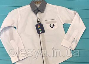 Детская белая школьная рубашка на мальчика с бабочкой Турция Размер 6- 13 лет