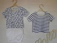 Комплект из двух футболок и белых хлопковых шортов для девочки