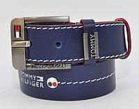 Кожаный ремень под джинсы Tommy Hilfiger 8038-401 синий 40 мм