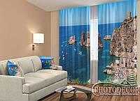 """ФотоШторы """"Пляж в Італії"""" 2,5 м*2,6 м (2 полотна по 1,30 м), тасьма"""