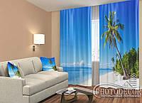 """ФотоШторы """"Пляж на Филиппинах"""" 2,5м*2,6м (2 полотна по 1,30м), тесьма"""
