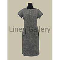 """Платье льняное платье строгого фасона без вышивки """"Фанні"""" цвета тёмно-серый меланж"""
