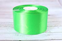 Атласная лента 5 см, 36 ярд (около 33 м), светло-зеленого цвета оптом