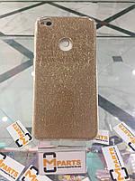 Чехол силикон с блестками 3 в 1 для Huawei P8 lite 2017 gold