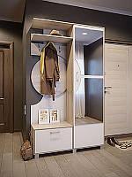 Шкаф для одежды в прихожую Фиона 1210*2090*385 дуб сонома/белый
