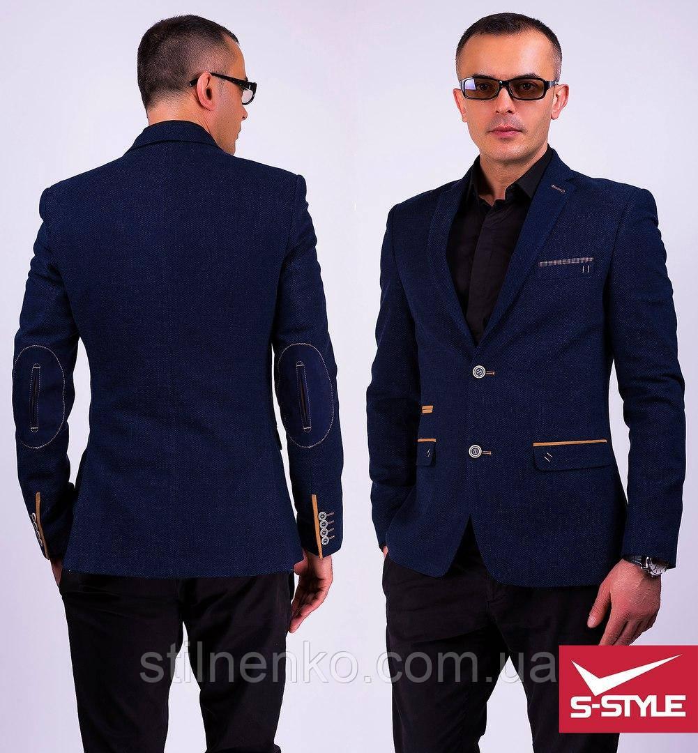 2200ad9e0da Модный мужской пиджак с латками на локтях -